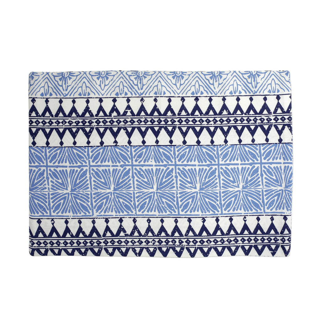 Bohemian Linens Blue Reversible Placemats - Set of 4