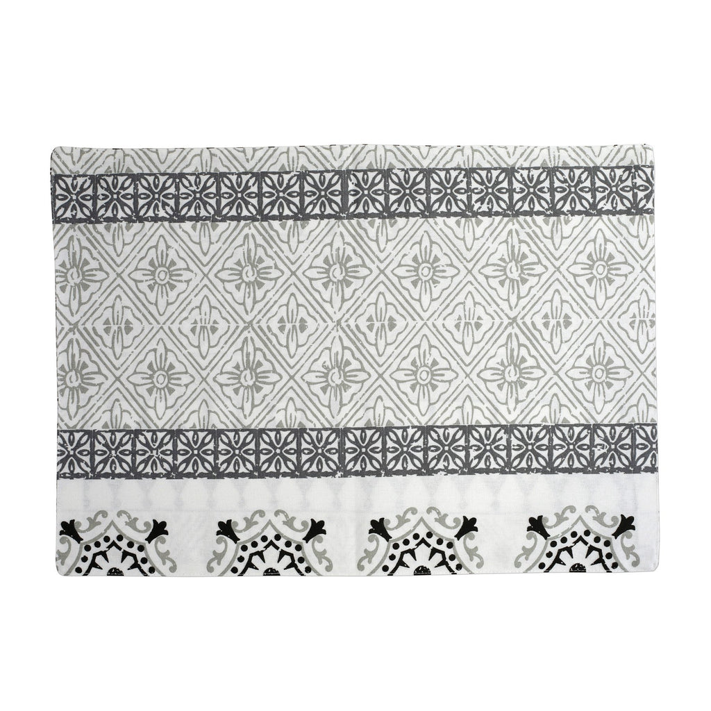 Bohemian Linens Gray/Black Reversible Placemats - Set of 4