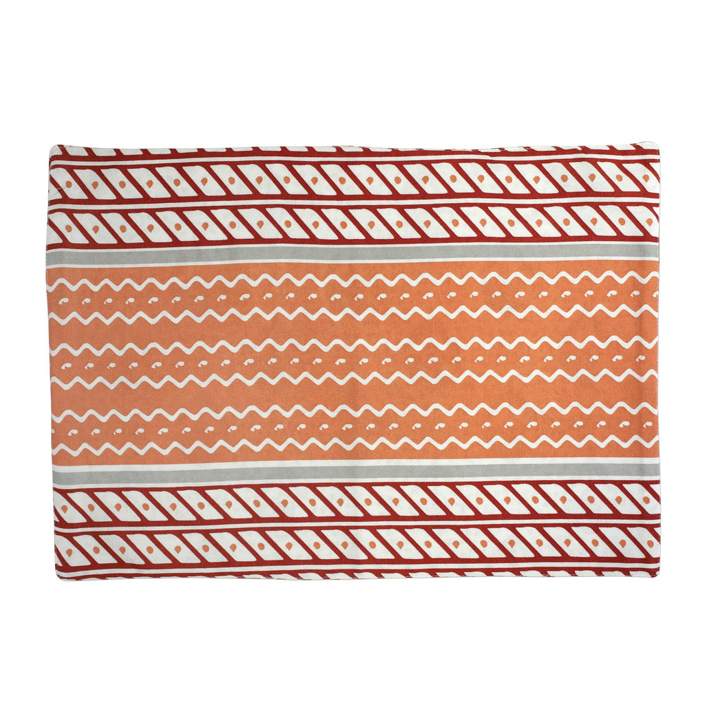 Bohemian Linens Gray/Orange Reversible Placemats - Set of 4