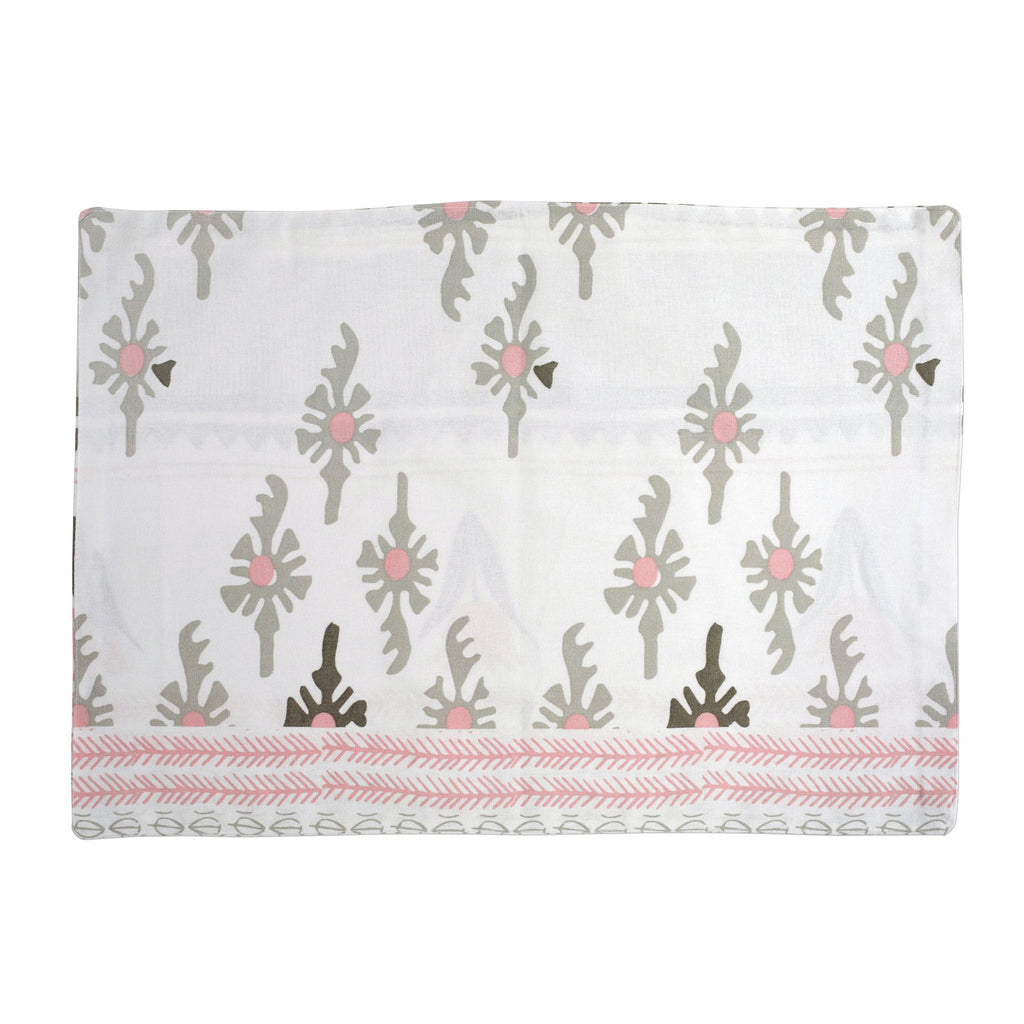 Bohemian Linens Gray/Pink Reversible Placemats - Set of 4