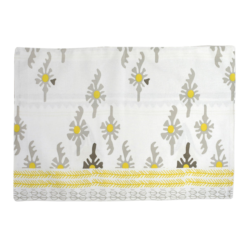 Bohemian Linens Gray/Yellow Reversible Placemats - Set of 4