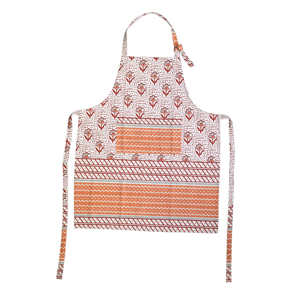 Bohemian Linens Gray/Orange Apron