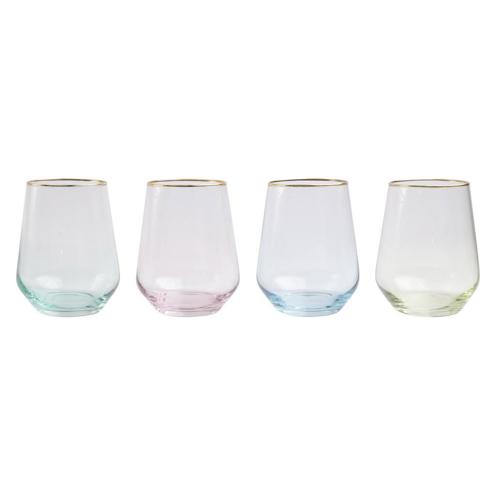 Rainbow Assorted Stemless Wine Glasses - Set of 4