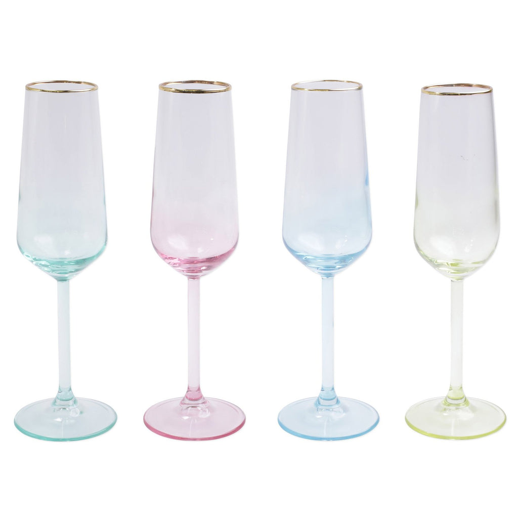 Rainbow Assorted Champagne Flutes - Set of 4