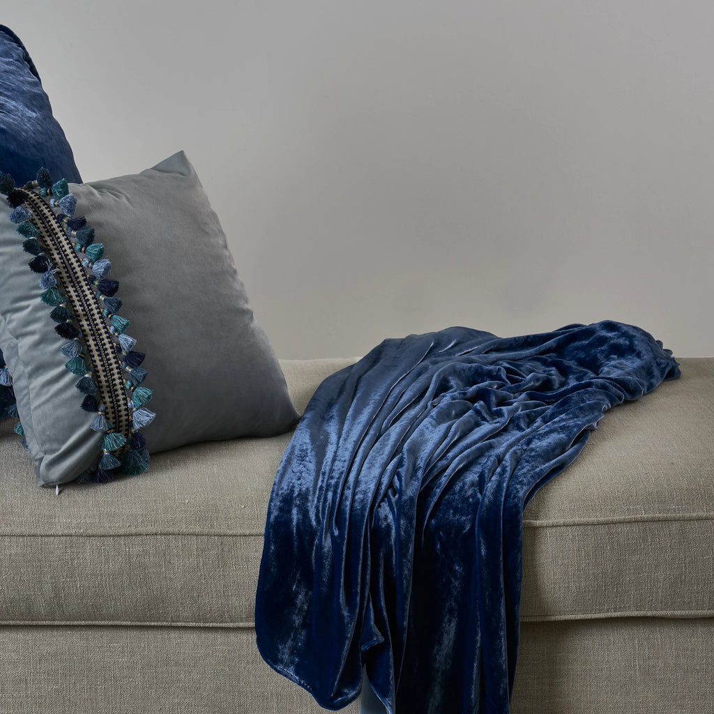 Vintage Velvet Throw and Corded Euro - Cobalt