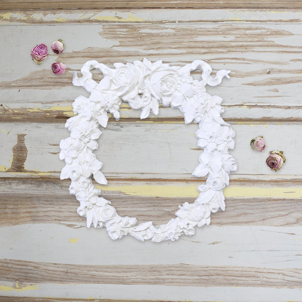 Shabby Furniture Applique A1004 Chic Rose Ribbon Wreath