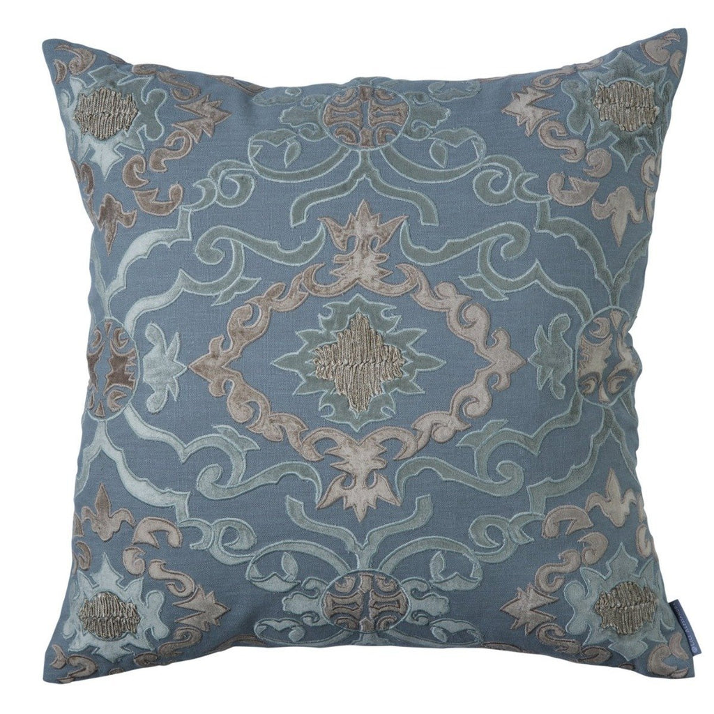 Lili Alessandra Valencia Slate Linen Throw Pillow