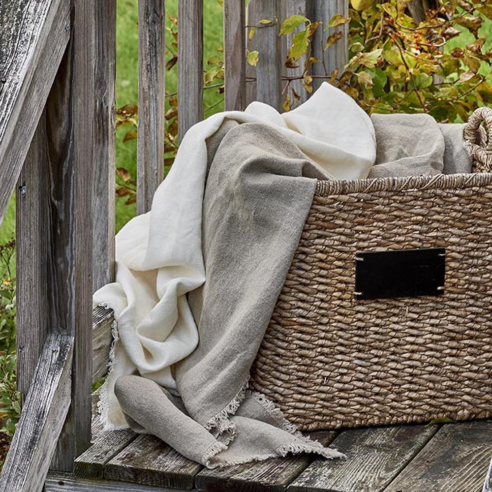 Rustic Stonewashed Linen Throw Blanket