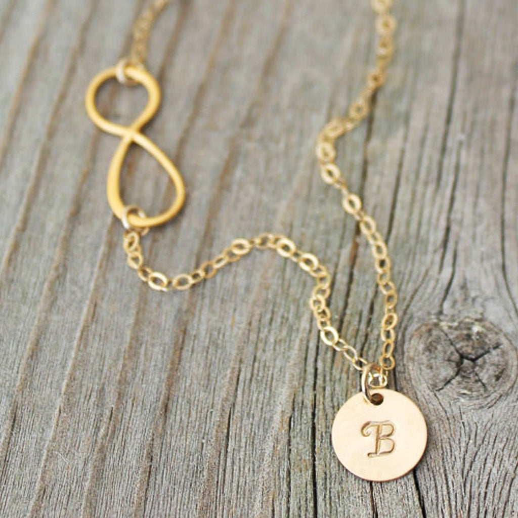 Sideways Infinity Monogram 14K Gold Filled Necklace