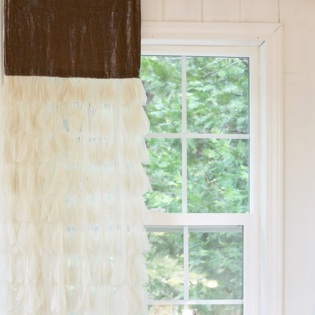 Chichi Petal Ivory Window Curtain with Velvet Header