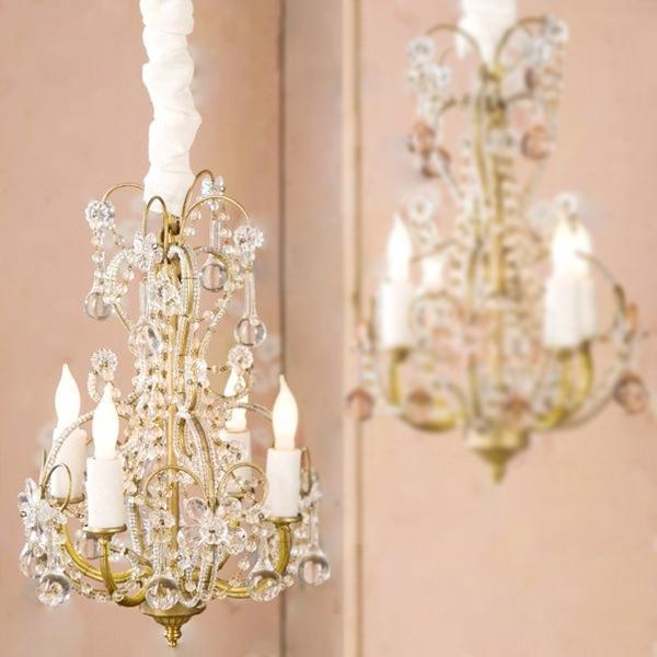 Petite Gold Chandelier with Clear Drops