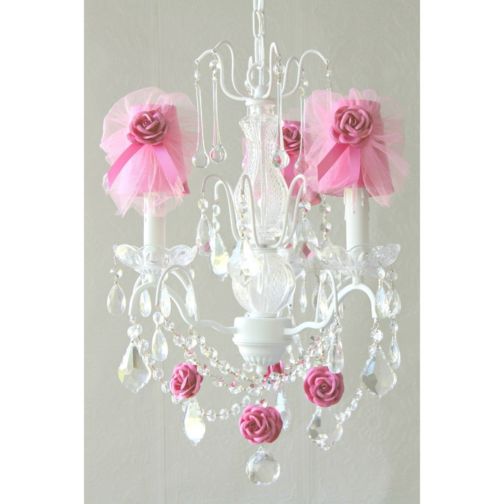Hot Pink Tulle Lamp Shade Chandelier