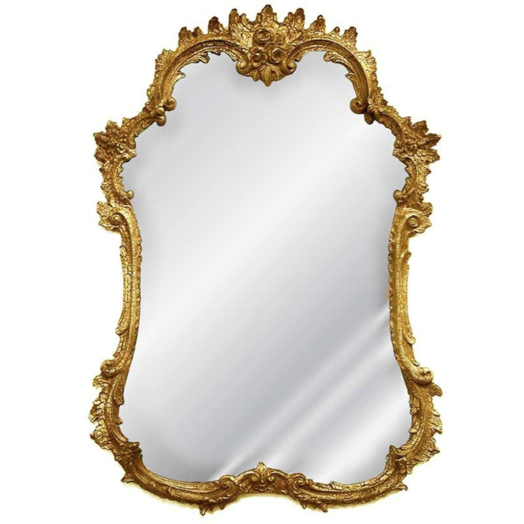 Shabby Antique Gold Rococo Rose French Mirror