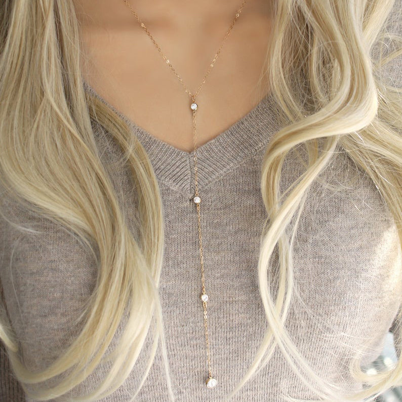 Long Lariat 14k Gold Filled Necklace