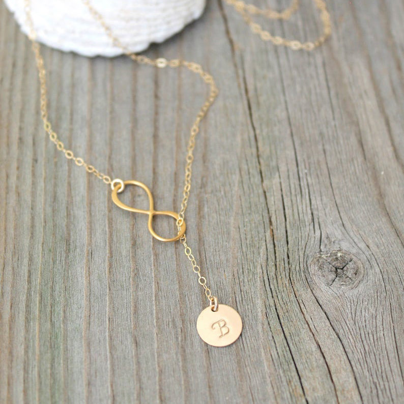 Infinity Lariat Monogram 14K Gold Filled Necklace