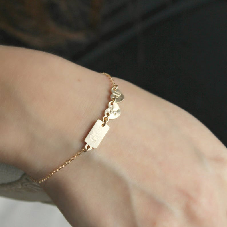 Love Custom Initial Gold-filled Bracelet