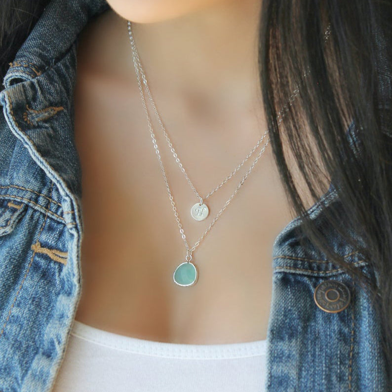 Custom Layered Initial Aquamarine Necklace