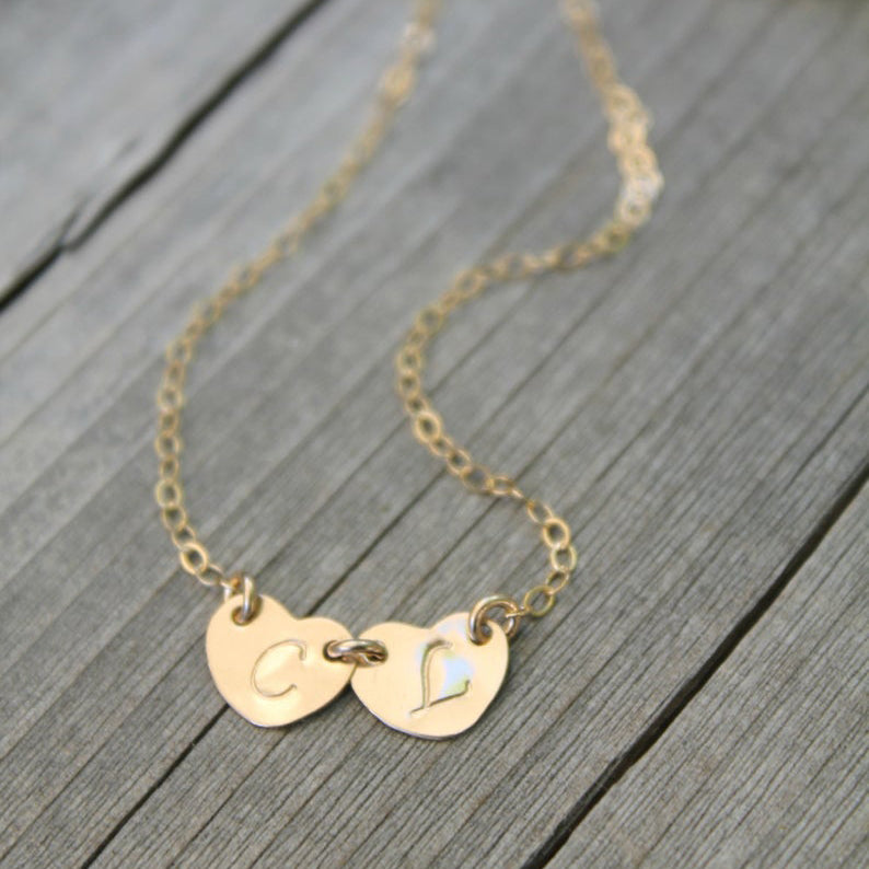 Two Hearts Monogram Gold Filled Necklace