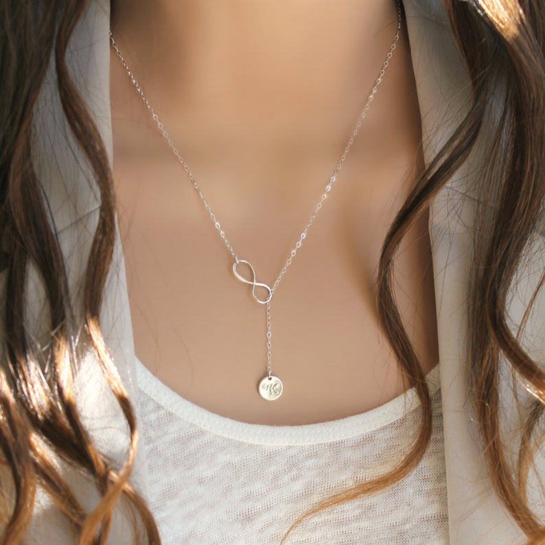 Infinity Lariat Monogram Sterling Silver Necklace