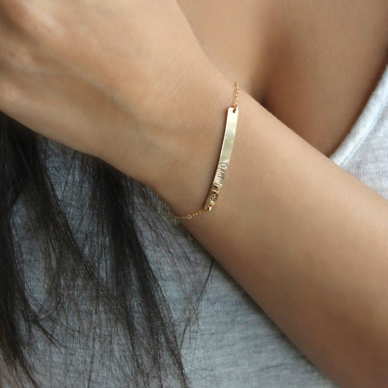 Custom Nameplate Bar 14k Gold Filled Bracelet