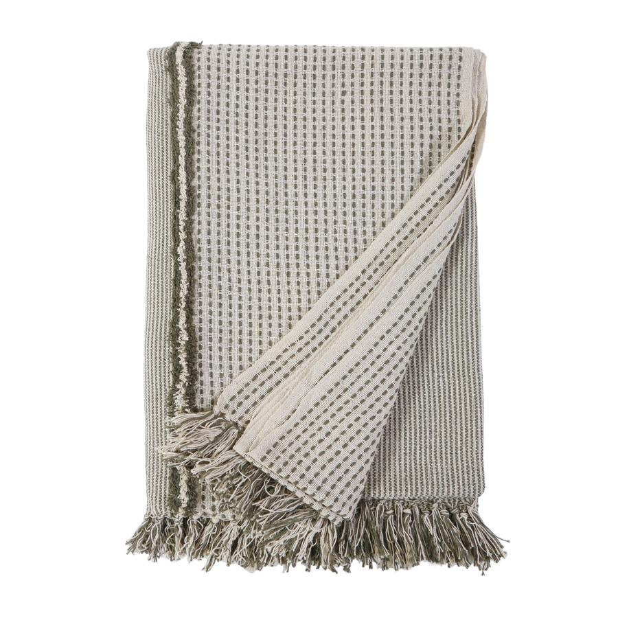 Pom Pom at Home Jojo Oversized Ivory/Moss Throw