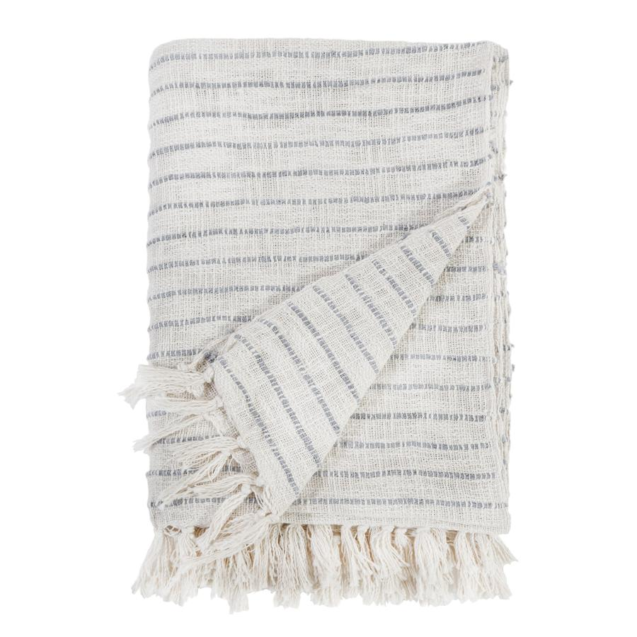 Pom Pom at Home Jojo Oversized Ivory/Blue Grey Throw