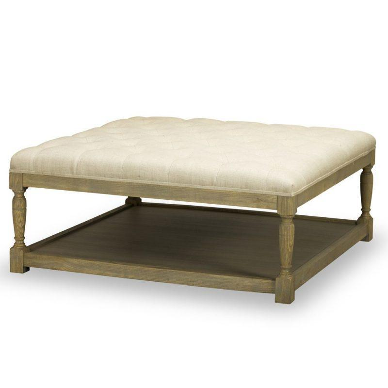 Lucy Tufted Cocktail Ottoman in Tribecca Natural