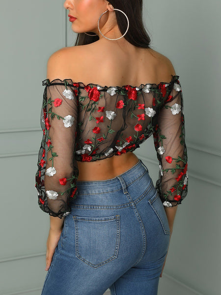 Embroidered Sheer Mesh Off Shoulder Cropped Blouse