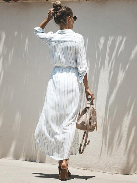 Simple Striped Shirt Midi Dress