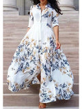 3/4 Sleeve Leaf Print High Slit Maxi Shirt Dress