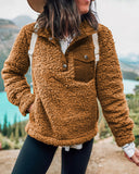 Fashion Button Pocket Stitching Teddy Coats-2color