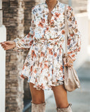 Gardenia Long-sleeve Tie Mini Dress