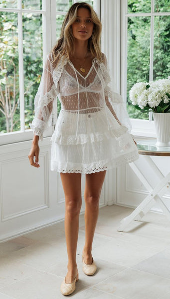 V-neck White Lace Hollow Cake White Mini Cover Ups