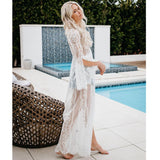 Vintage Lace Long Sleeve Beach Cover Ups