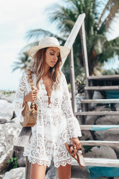 Sexy Lace Long Sleeve V-Neck Beach Mini Dress