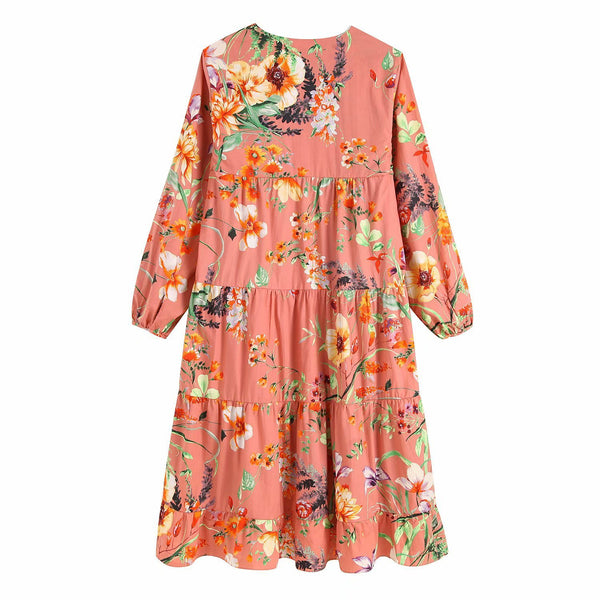 Pink Knee Length Dress Three Quarter Floral Pleated Patchwork Dress