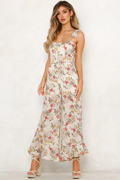 Beach Summer Sleeveless Print Spaghetti Straps Bohemia Backless Jumpsuit