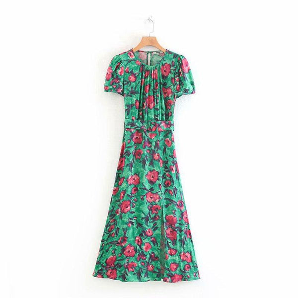 Summer Chic Floral Printing Vestidos Vintage O-neck Casual Dresses