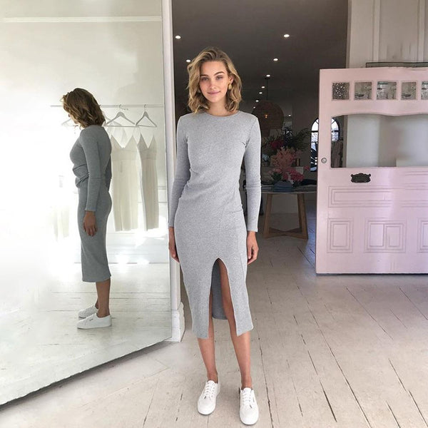 Round Neck Long Sleeve Super Fashion Casual Midi Dress