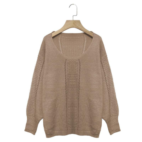 Casual Solid V-Neck Hollow Out Blouse Long Sleeve Sweater