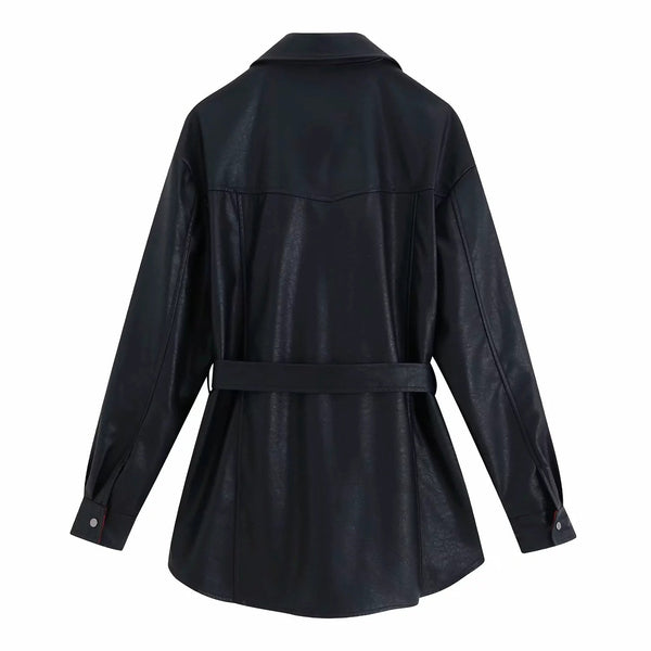 Fake Leather Belted Motor Belted Black Trench Coat