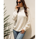 White Warm Semi Turtleneck Sweater