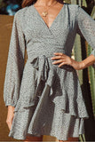 V-neck Ruffled Stitching Design Long-Sleeved Chiffon Dot Print Dress
