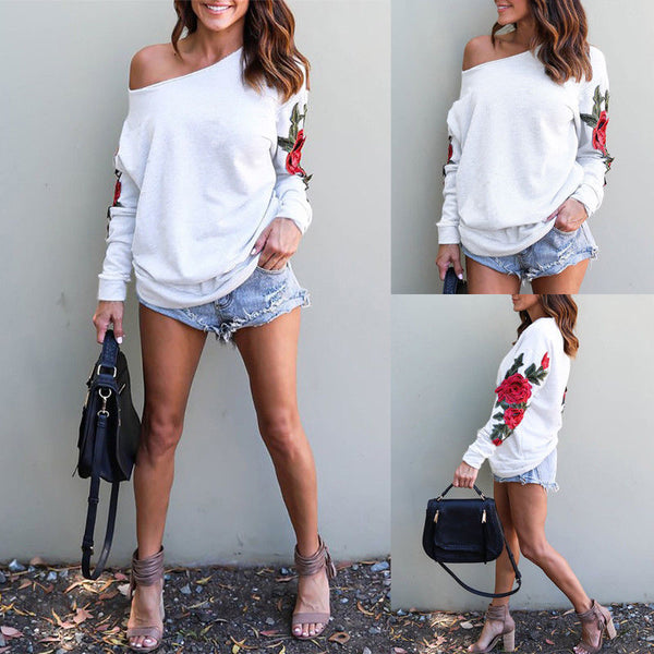 Off Shoulder Embroidery Long-sleeve Top