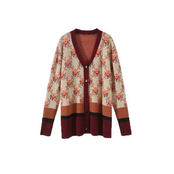 Floral Stripe Autumn Long Sleeve Knitted Boho Warm Sweater