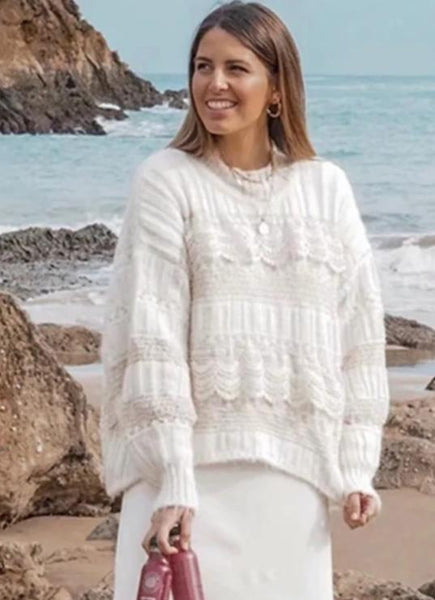 New Retro Loose Lace Solid Color Sweater