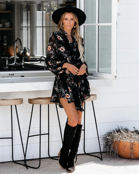 Black Chiffon Printed Boho Fashion Mini Dress