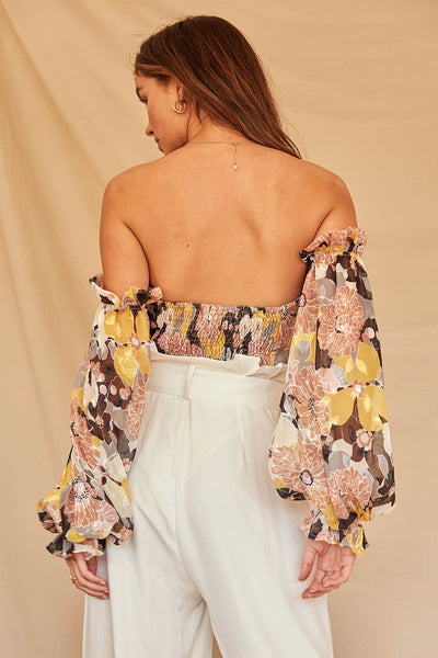 Printed Off-the-shoulder Chiffon Jacquard Top