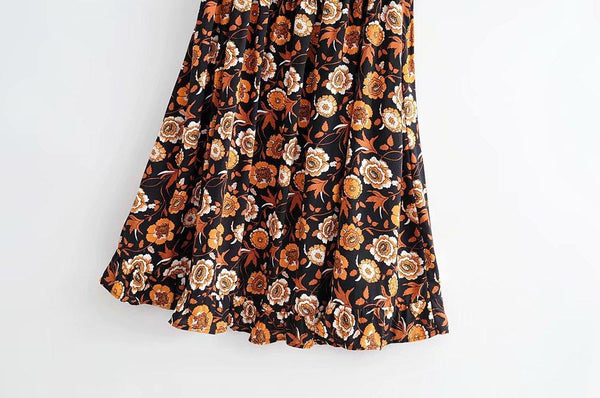 Cashew Flower Dress Elasticated Waist Sexy Skirt