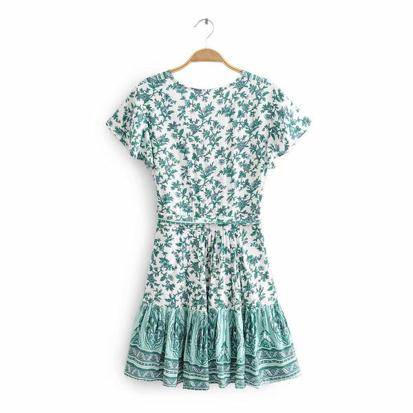 V-neck Cotton Print  Flying Sleeves Ruffled Skirt